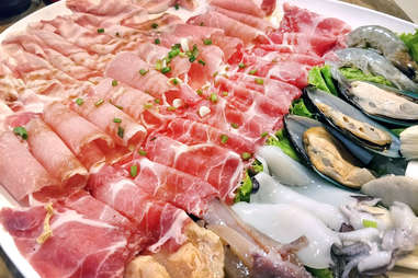 Chinese hot pot meat platter seafood mussels beef lamb pork chicken hotpot proteins