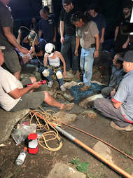Rescuers trying to save dog