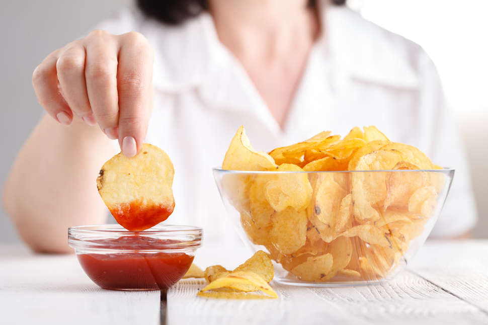 potato chips and ketchup