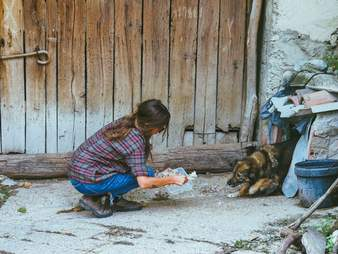 Woman offering food to dog