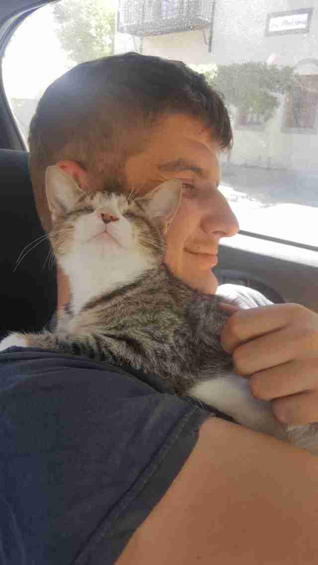 Man cuddling with cat