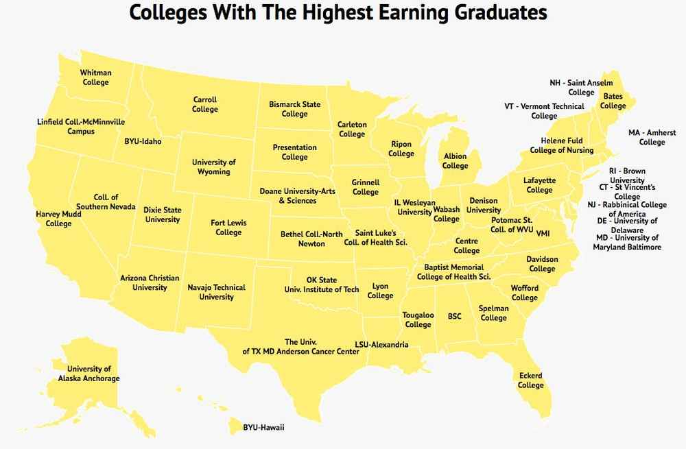 colleges with the highest earning graduates in every state revealed