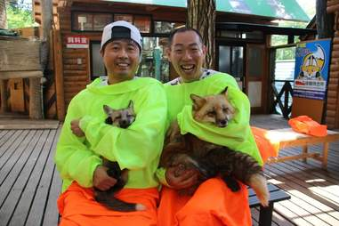 Tourists hold two foxes at Fox Village in Japan