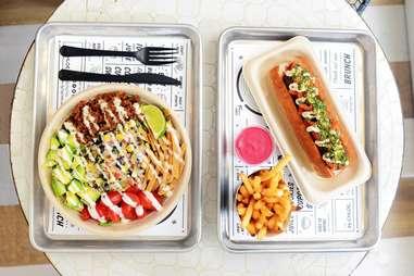 "By Chloe's taco salad and vegan ""meatball"" sub."