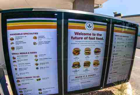 The full drive-thru menu at Plant Power