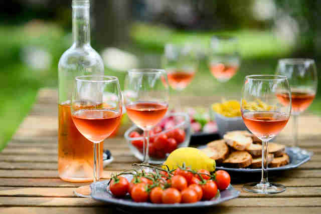 rosé wine and cherry tomatoes