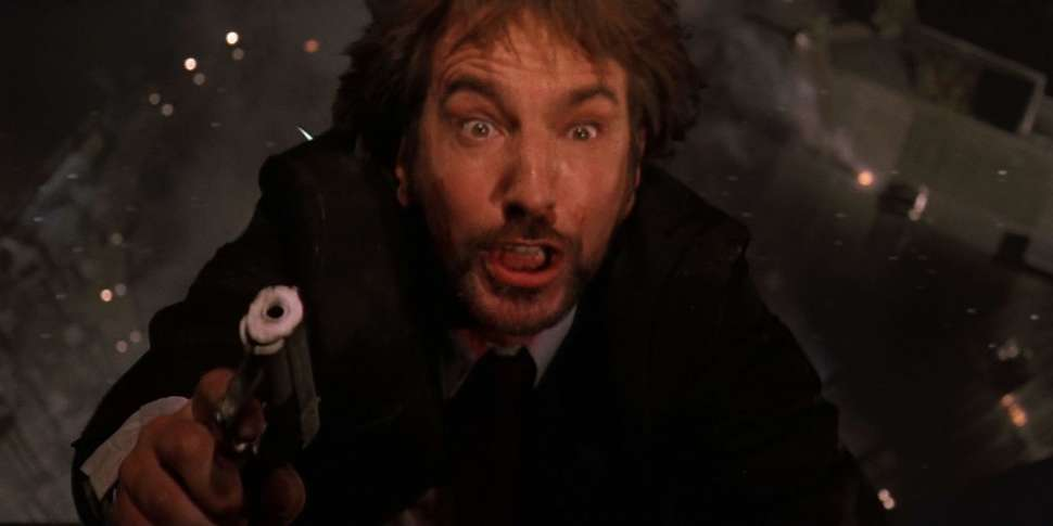 Image result for alan rickman falling out the window