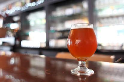 Belgian beer on bar counter