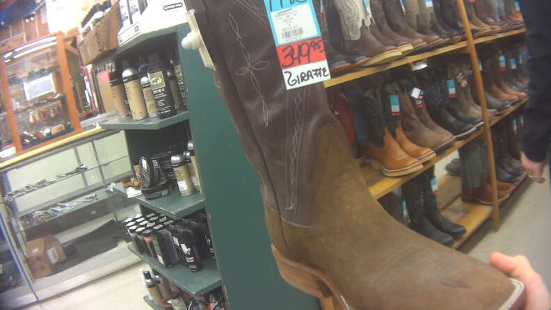 Boots made out of giraffe skin