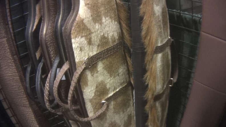 Gun cases covered in giraffe hide
