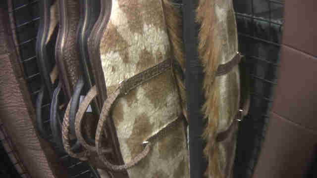 Gun cases covered in giraffe hide