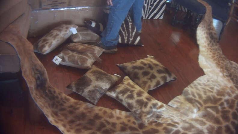 Giraffe rugs and pillows