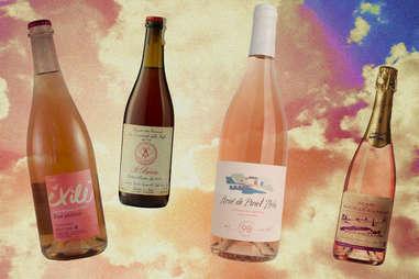 rosé bottles in the sky illustration