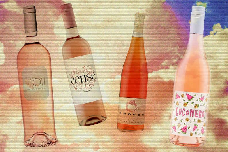 rosé bottles in the air illustration