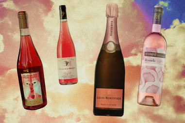 rosé wine bottles in the sky illustration
