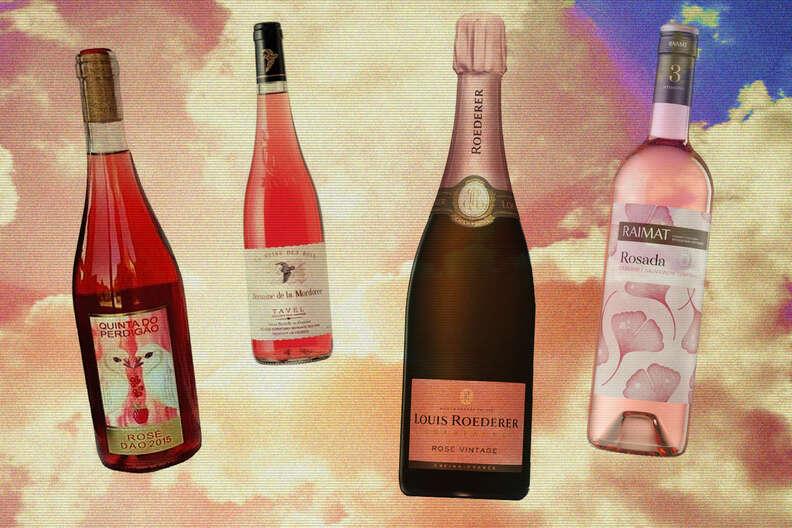 rosé wine bottles in the sky illustration