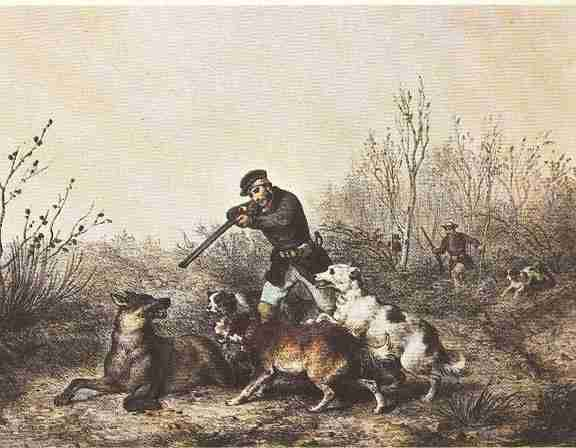 19th-Century painting depicting a wolf hunt