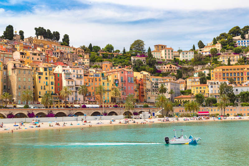 Colorful old town and beach in Menton on french Riviera