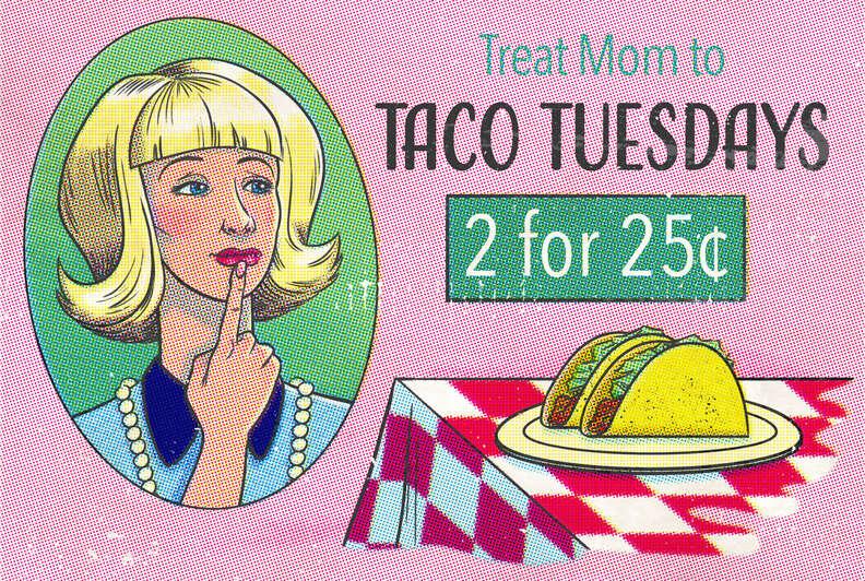 taco tuesday ad cartoon