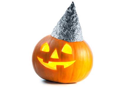 jack-o-lantern wearing tin foil hat