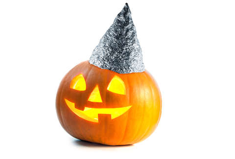 jack-o-lantern wearing tin foil hat