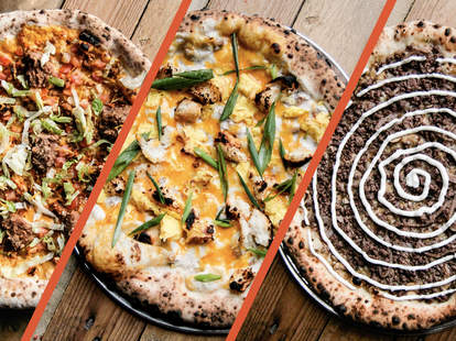 Three pizzas with crazy toppings