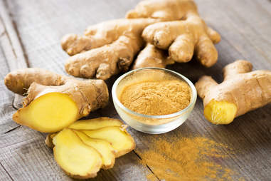 Ginger on wooden table