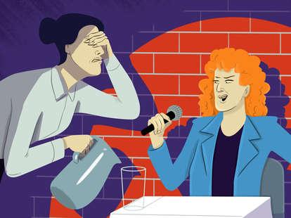 restaurant customer telling jokes to server (illustration)