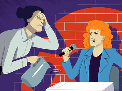 restaurant customer telling jokes to server (illustration)