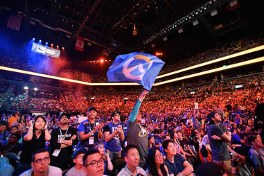 OWL flag and crowd