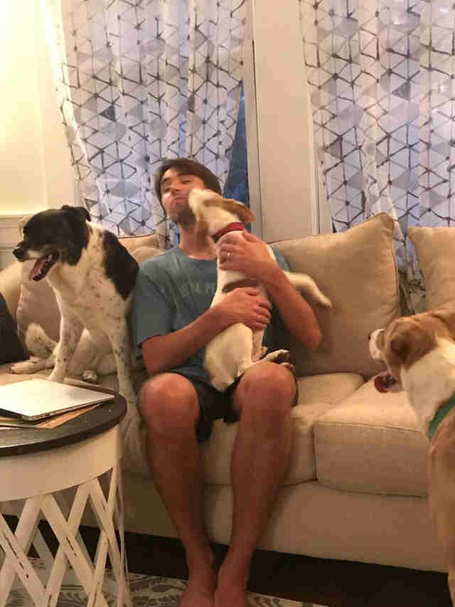 Floyd licks his foster family ahead of Hurricane Florence