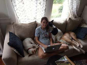 Ali Standish and her rescue dogs