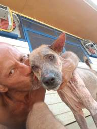 Man kissing dog with mange