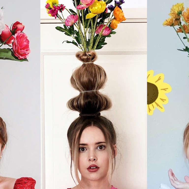 b32f4dfe7723 Flower Vase Hair Trend is Taking Over Instagram - NowThis