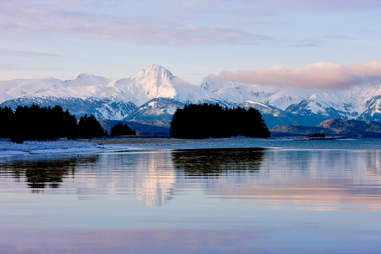 Chilkat Mountains And Eagle River At Eagle Beach State Recreation Area