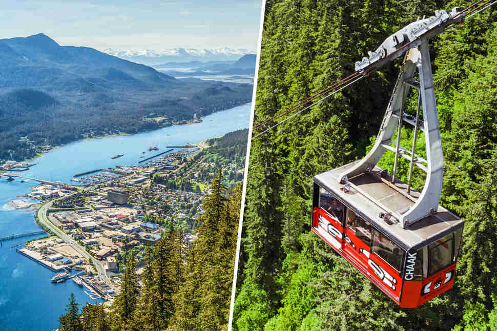 Two photos of aerial views from the Mt. Roberts Tramway