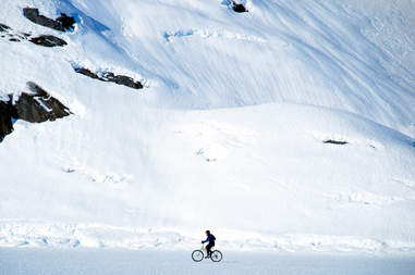 Portage Glacier person biking
