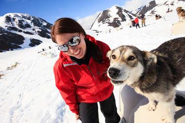 girl with husky dog