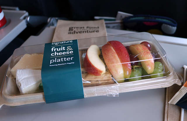 Alaska Air fruit and cheese platter