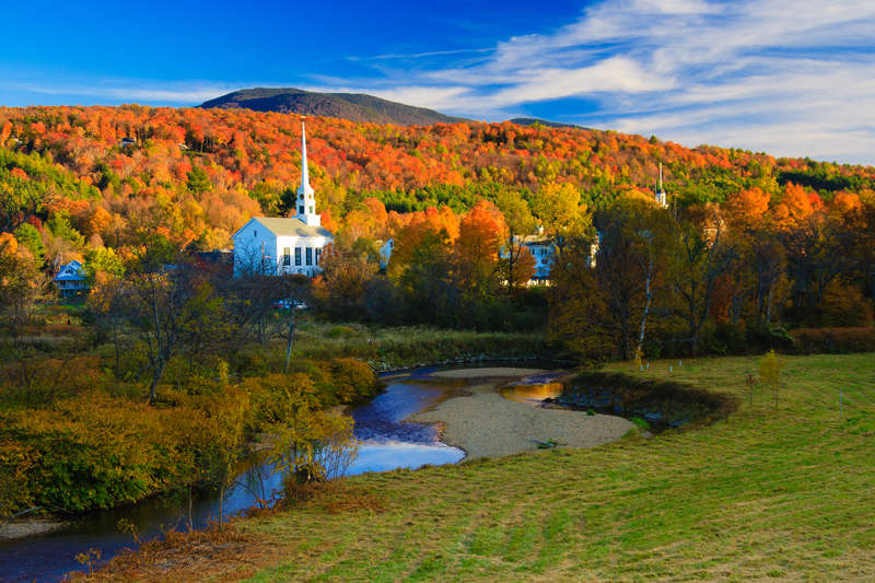 Fall Foliage and the Stowe Community Church, Stowe, Vermont