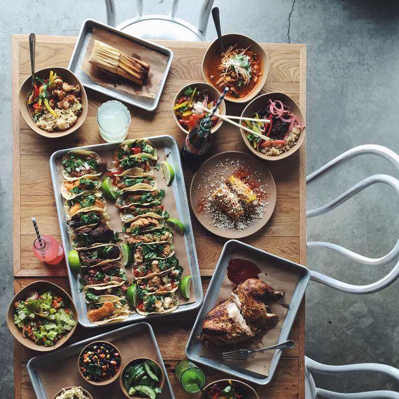 Food spread on table from Bartaco