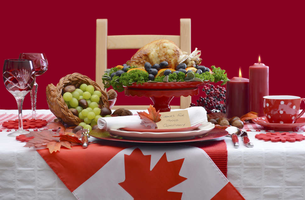 thanksgiving feast on a canadian flag