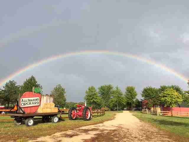 Rainbow over All Seasons Apple Orchard