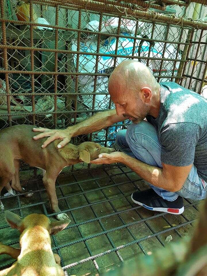 Man saving dog from slaughterhouse