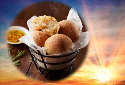 Bertucci's bread rolls photoshopped in front of sunset