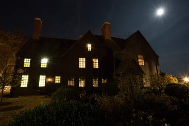 House in the dark with moon shining