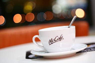 McCafe coffee cup with spoon in it