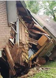 Collapsed house due to flash floods