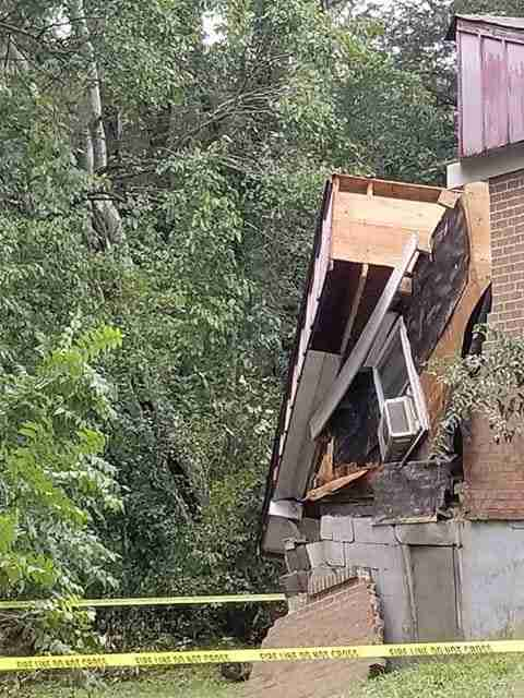 Damaged house after flash flooding