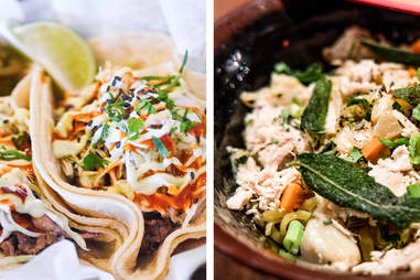 tacos (left), bowl (right)